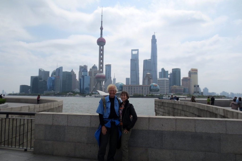 Tourists and the Shanghai Skyline