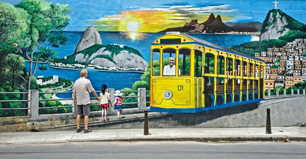 Interacting with street art in the Santa Teresa neighborhood of Rio de Janeiro.