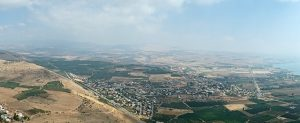 View from the Arbel Cliffs National Park with the NW corner of the Sea of Galilee on the right.